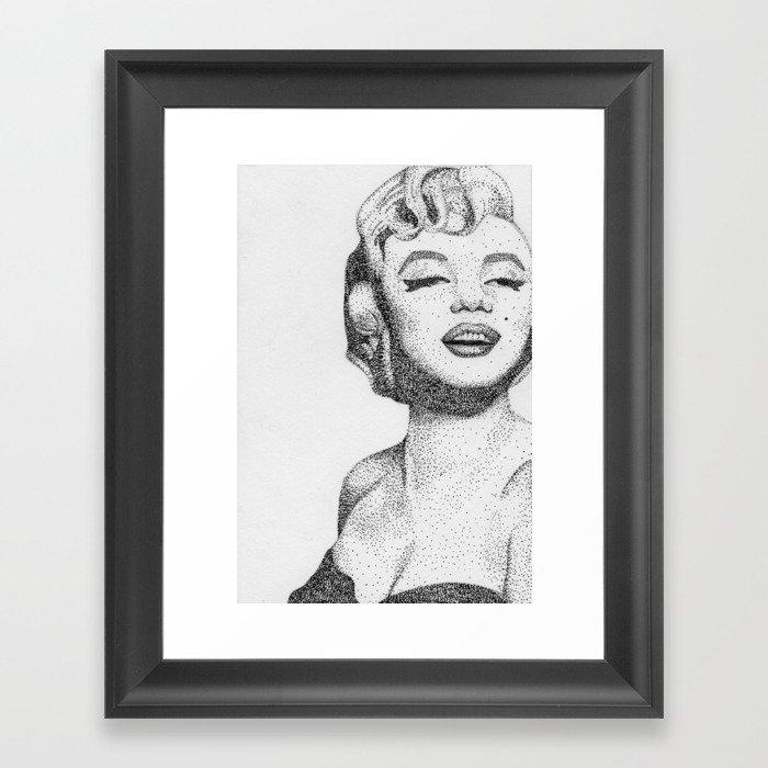 Marilyn Monroe Pointillism/Stippling Portrait Framed Art Print by ...