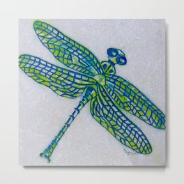 Dragon Fly Marble Original Art By Catherine Coyle Metal Print