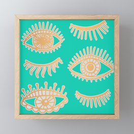 Evil Eyes Turquoise and Gold Framed Mini Art Print