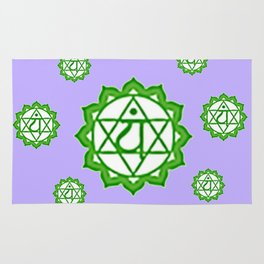 """This design is all about the ASTRAL PURPLE GREEN SANSKRIT CHAKRAS PSYCHIC WHEEL """" LOVE"""" decor, furni Rug"""