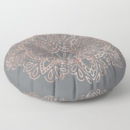 Mandala Rose Gold Pink Shimmer on Soft Gray by Nature Magick Floor Pillow