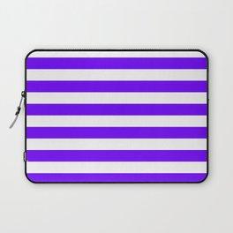 Narrow Horizontal Stripes - White and Indigo Violet Laptop Sleeve