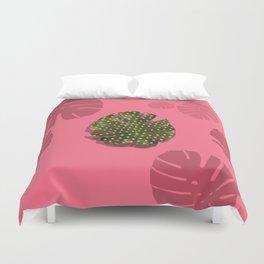 """Moss green leaf and pink flamenco polka dots"" Duvet Cover"