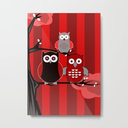 Red Owls Metal Print