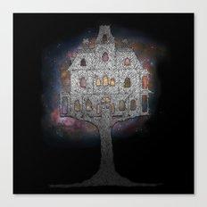 Cosmos Tree House B/W Canvas Print