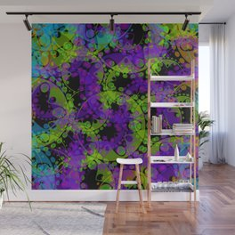 Multicolored delicate pastel green circles and blue ellipses depicting abstract ornamental purple fl Wall Mural