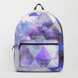 Purple and silver glitter triangle pattern- Abstract Watercolor illustration Backpack
