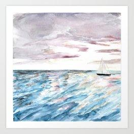 Sailboat at Sunset Watercolor Art, Ocean Waves, Anne Hockenberry Art Print