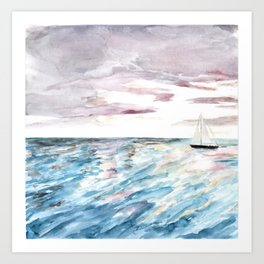 Sailboat at Sunset Watercolor Art, Ocean Waves, Anne Hockenberry Art Print