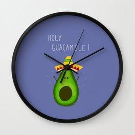 Holy Guacamole, avocado with sombrero Wall Clock