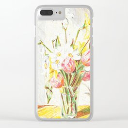 Tulips and Daffodils in a vase Clear iPhone Case