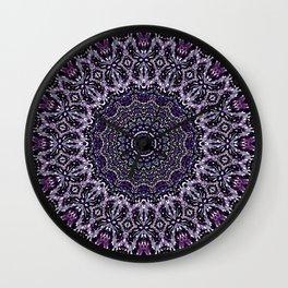 Purple, Gray, and Black Kaleidoscope 2 Wall Clock