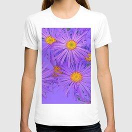 LAVENDER PURPLE ASTER FLOWERS ART T-shirt