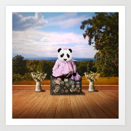 Baby Panda on Vacation Art Print