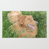 conan Area & Throw Rugs featuring Golden Retriever Conan by Yvonne Carter
