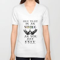 larry stylinson V-neck T-shirts featuring One that's strong as you are free (Larry Stylinson) by Arabella