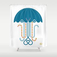 jelly fish Shower Curtains featuring Jelly the Fish by Kirsten Ulve