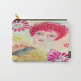 Whimiscal Girl with Red Curly Hair Carry-All Pouch
