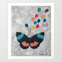 Butterfly with Balloons Art Print
