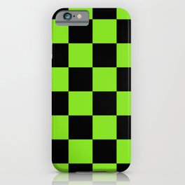 Halloween Green and Black Checkerboard Pattern LG iPhone Case