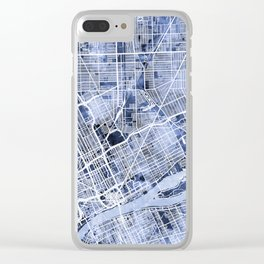 Detroit Michigan City Map Clear iPhone Case