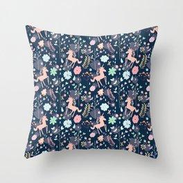 Unicorns in Hesperides Throw Pillow