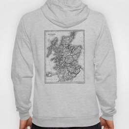 Vintage Map of Scotland (1832) BW Hoody