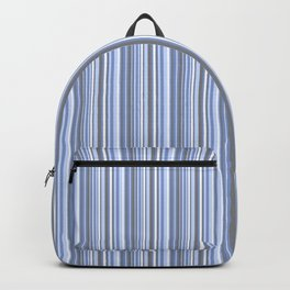 gray and blue striped . Backpack