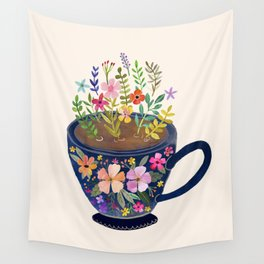 Mug with Flowers Wall Tapestry