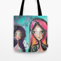 angels Tote Bags featuring angels by SannArt