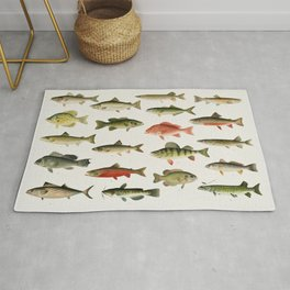 Illustrated North America Game Fish Identification Chart Rug