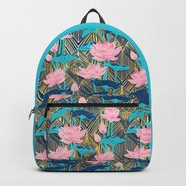 Art Deco Lotus Flowers in Pink & Navy Backpack
