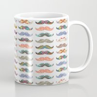 mustache Mugs featuring Mustache Mania by Bianca Green