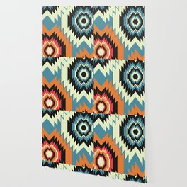 Navajo shapes in orange and blue Wallpaper