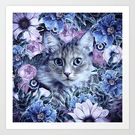 Cat In Flowers. Winter Art Print