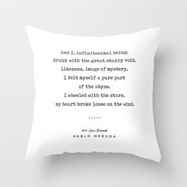 Pablo Neruda Quote 03 - 100 Love Sonnets - Minimal, Sophisticated, Modern, Classy Typewriter Print Throw Pillow