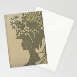 Garden Hat Chic:  Vintage Stylish Lady in hat silhouette with brown and tan sepia Stationery Cards