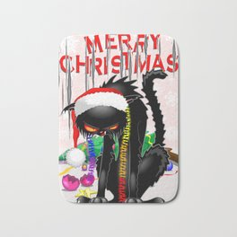 Evil Black Cat VS Christmas Tree Bath Mat