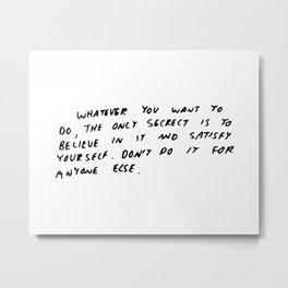 Keith Haring quote in his own handwriting Metal Print