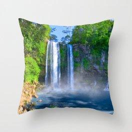 Tropical Waterfalls In A Mexican Landscape - Cascadas De Misol Ha Throw Pillow