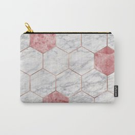 Rosa marble hexagons Carry-All Pouch