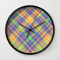 plaid Wall Clocks featuring Plaid by Lyle Hatch