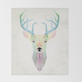 white deer Throw Blanket