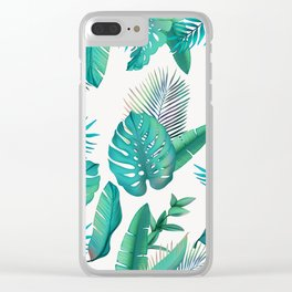 Tropical leafs pattern Clear iPhone Case