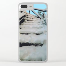 Snowy stairway Clear iPhone Case