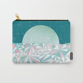 Geometric Sunrise - Teal and Pink Carry-All Pouch