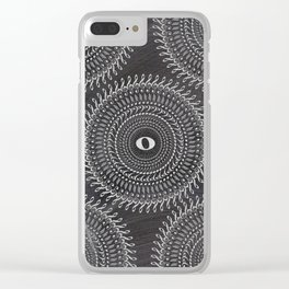 Music note mandala 2 (chalk) Clear iPhone Case