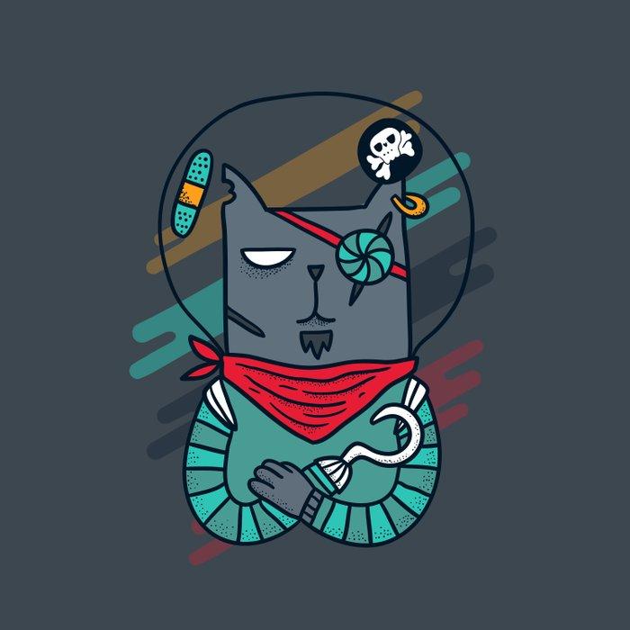 Space pirate cat Comforters