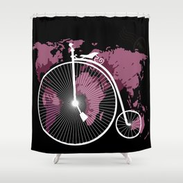 bicycle over textured world map Shower Curtain
