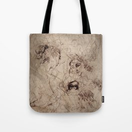 Renaissance Style Life Gesture Drawing Collage Tote Bag